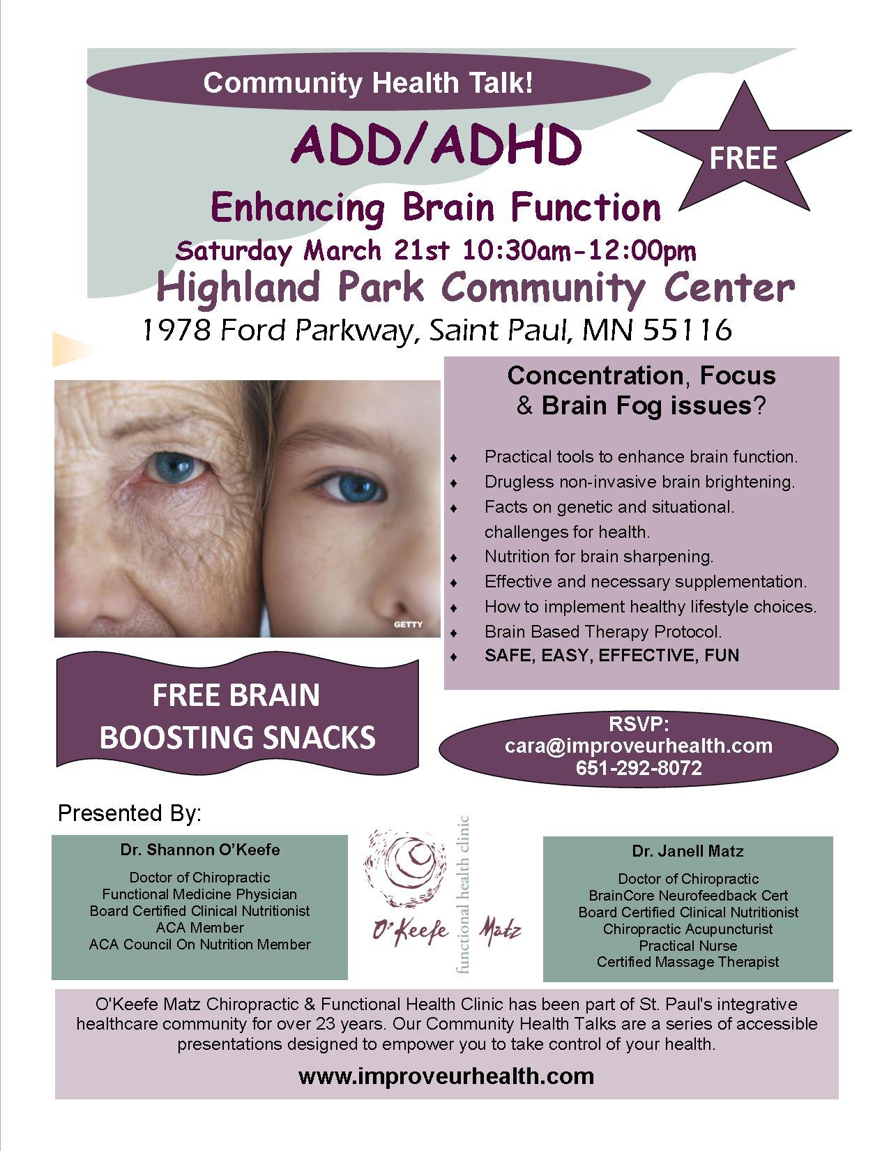 ADD/ADHD: Enhancing Brain Function | O'Keefe & Matz